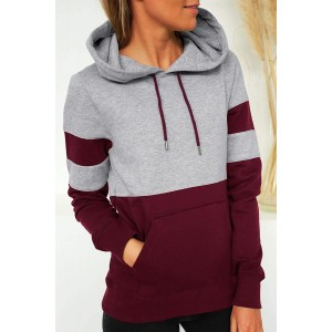 Red Color Block Long Sleeve Crewneck Pullover Hoodie Blue
