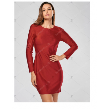 7868ac7d60a7 Alluring Scoop Collar Solid Color Backless Long Sleeves Bodycon Dress - Red