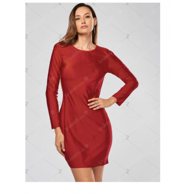 Alluring Scoop Collar Solid Color Backless Long Sleeves Bodycon Dress - Red