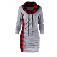 Plaid Cowl Neck Tunic Sweatshirt Dress - Heather Gray