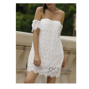 Sexy Off-The-Shoulder Short Sleeve Solid Color Lace Dress For Women - White