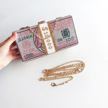 Stack of Cash Crystals Women Money Evening Clutch Bags diamond painting chain Wedding Dinner Purses and Handbags luxury designer
