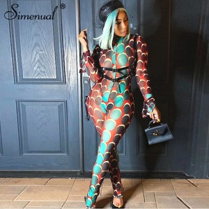 Simenual Mesh Printed See Through Hot Rompers Womens Jumpsuit Bodycon Sexy Partywear Flare Long Sleeve Hollow Out Jumpsuits 2020