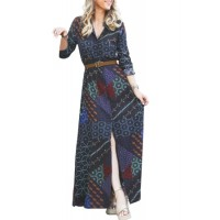 Black Red Boho Print Belted Maxi Shirt Dress navy Green