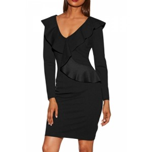 Black V Neck Long Sleeve Ruffle Dress