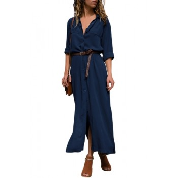 Dark Blue Slit Maxi Shirt Dress with Sash Green Black