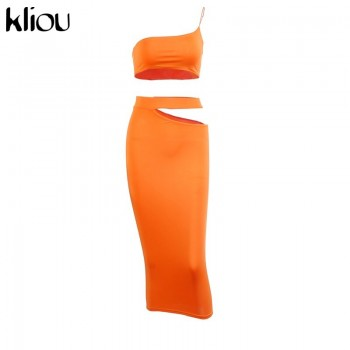 Kliou women one shoulder sleeveless short crop top+sexy hollow out skirt matching set skinny club party fitness elastic outfits