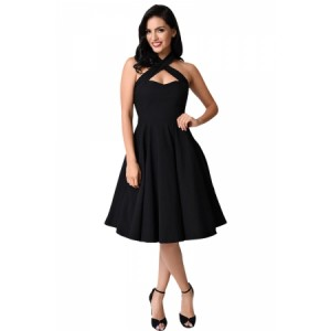 Black Cross Halter Vintage Flare Dress
