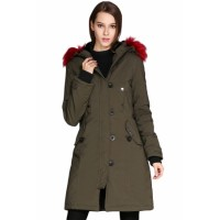 Black Plush Fur Hooded Long Parka Coat Army Green