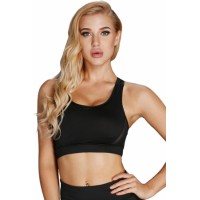 White Scoop Neck Hollow-out Back Sport Bra Top Black