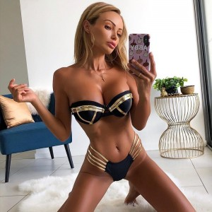 Sexy Two Piece Sets Women Off Shoulder Bandage Bathing Suits Beach Wear Strapless Ladies Suits Blue Gold Red Black