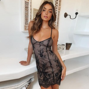 Summer Dress 2019 Black Lace Up Bodycon Lace Dresses V Neck Sleeveless Women Vintage Ladies Dress Vestidos