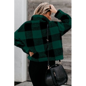 Black Checkered Half Zip Pullover Green Red
