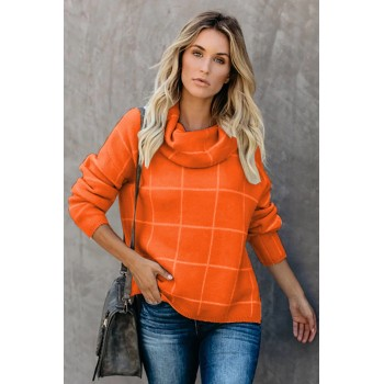 Brown Grid Pattern Turtleneck Sweater Green Apricot Orange