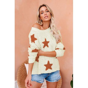 Beige Knit Star Sweater Black White