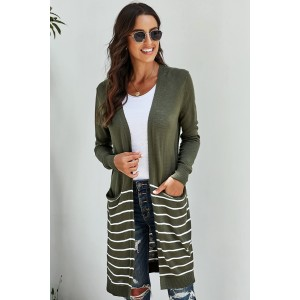 Green Open Front Long Sleeve Striped Cardigan Black Brown