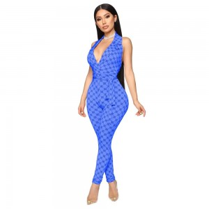 Zoctuo 2020 Summer Autumn Rompers Womens Jumpsuit Plaid Sexy Halter Temperament commute Middle Waist Tight with Belt Jumpsuit