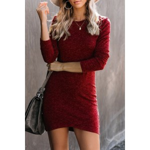 Red Long Sleeve Wrap Hem Mini Dress
