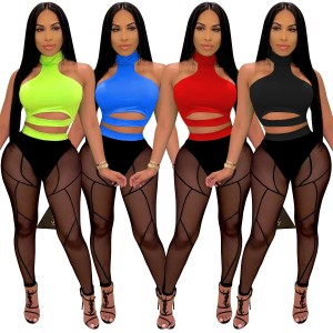 Zoctuo Sexy Club Party Women Set Mesh See Though Tops Sweatpant Jogger Suit Tracksuit Cut Out Pants 2Pcs Matching Set Outfit