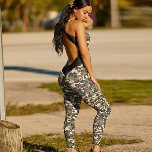 Camo Sport Suit Wear Women Yoga Set Gym Clothing Workout Suit Fitness Clothes Backless Tight Sportswear Running Sports Clothing