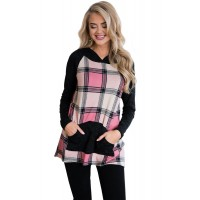 Pink Plaid Pullover Hoodie Yellow