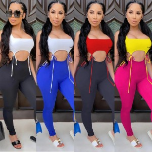 Zoctuo Solid Two Piece Set Outfits Crop Tops and Leggings Set Streetwear Casual Two Piece Set Bandage Women Two Piece Set
