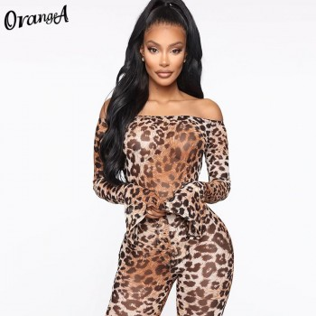 OrangeA women off shoulder leopard print matching set long sleeve bodysuits+leggings stretchy two piece outfits fashion clubwear