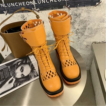 Fashion Women's Round Toe Lace-Up Platform Motorcycle Boots 2020 Summer Sweet Cute Breathable Cool Hollow hole Ankle Boots