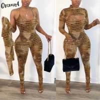 OrangeA women serpentine o-neck full sleeve crop top halter jumpsuit fitness elastic hight 2020 fashion two piece outfits casual