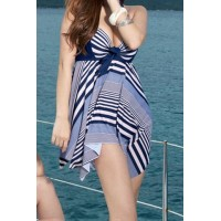 Cute Women's Halter Striped Two-Piece Swimwear