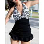 Ruffled Sexy Halterneck Striped Ruched One-Piece Swimwear For Women