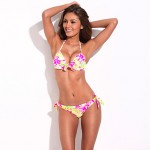 Young & Gorgeous - RELLECIGA New High Contrast Floral Blooming Pattern Push-Up Halter Top & Side-tie Bikini Set