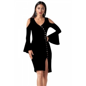 Black Cold Shoulder Button Detail Slit Midi Dress
