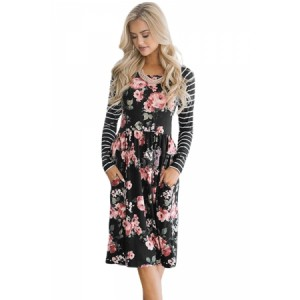 Black Floral Stripe Long Sleeve Side Pocket Boho Dress