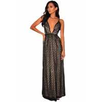 Black Nude Illusion Crisscross V Neck Evening Dress Pink