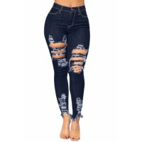 Blue High Waist Distressed Jeans