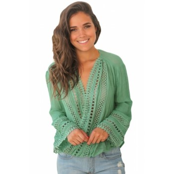 Blue Long Bell Sleeve Crotch V Neck Tunic Top Green Apricot