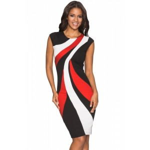 Taupe Accents Colorblock Geometric Pattern Tube Dress White blue red