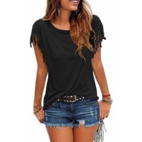 Black Casual Tassels Short Sleeve T Shirt
