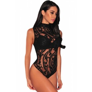 Black High Neck Mesh Lace Bodysuit