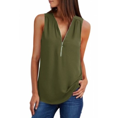 Green Zip Neckline Sleeveless Shirt Tank