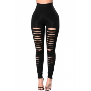 High Waist Ripped Front Leggings