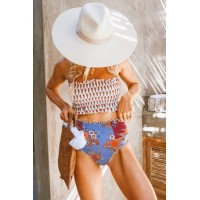 White High Waist Printed Smocked Bikini