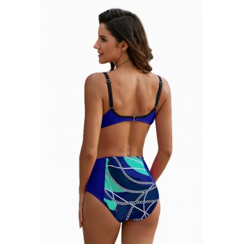 Blue Abstract Chains Print High Waist Bikini Rose