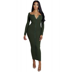 Green Long Sleeve Snap Button Ribbed Dress