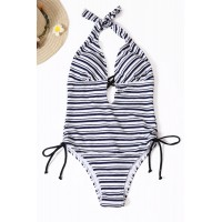 Blue Stripe Tie-up One-piece Swimsuit