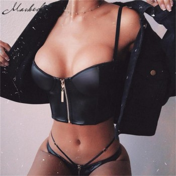 Leather Zipper Top 2019 Women Slim Cropped Top Black