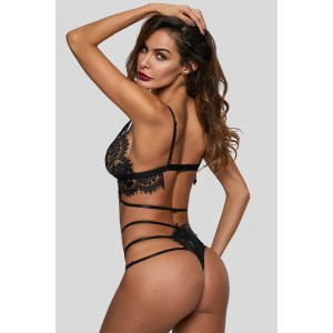 White Lace Strappy See Through Lingerie Set Black