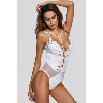 White Lingerie Lace Bodysuit Black