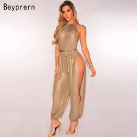 Beyprern Sexy Gold Metallic Slit Leg Harem Jumpsuits Rompers Stylish Gold Sleeveless Halter Keyhole Jumpsuits Overalls Clubwear